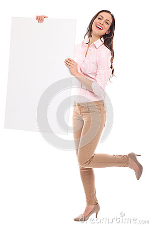 Beautiful woman holding blank board