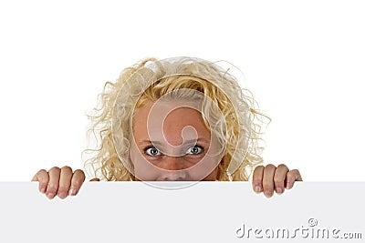 Beautiful woman holding a blank message board