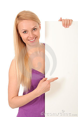 Beautiful woman holding blank poster