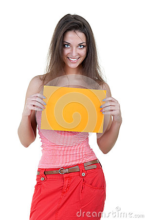 Beautiful woman holding empty orange board