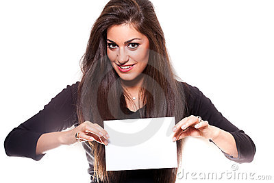 Beautiful woman holding empty white board