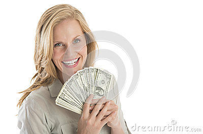 Beautiful Woman Holding Fanned One Dollar Bills