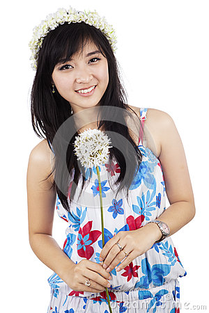 Free Beautiful Woman Holding Flower Isolated Royalty Free Stock Images - 38123989