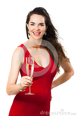 Beautiful woman holding glass of Champagne and smiling