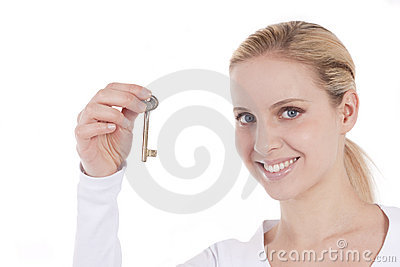 Beautiful woman holding key