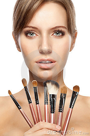 Free Beautiful Woman Holding Makeup Brushes Set Stock Image - 19517931