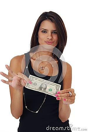 Beautiful woman holding money