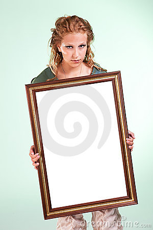Beautiful woman holding a white decorative frame