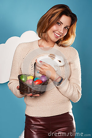 Free Beautiful Woman Holding White Little Easter Bunny Basked Eggs Stock Photos - 48915503