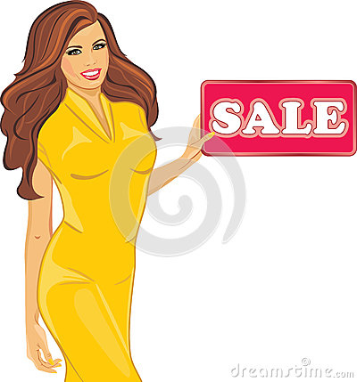 Free Beautiful Woman In A Yellow Dress Holds A Sale Sign Stock Photo - 93791580