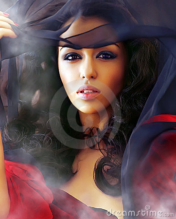 Free Beautiful Woman In Clubs Of A Smoke Stock Image - 7836381