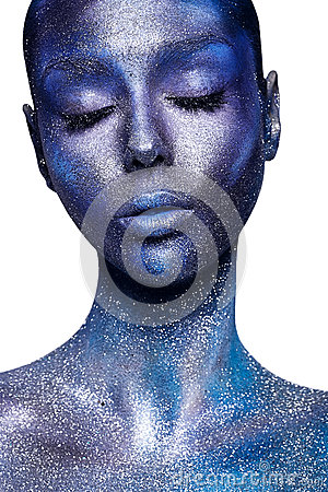 Free Beautiful Woman In Dark Blue And Violet Bodyart Royalty Free Stock Photos - 55178368