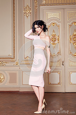 Free Beautiful Woman In Elegant Dress Fashionable Autumn Collection Of Spring Long Brunette Hair Makeup Tanned Slim Body Figure Ac Stock Images - 63002004