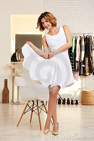 Free Beautiful Woman In Evening Short Sexy Dress For Party Stock Photos - 48777213