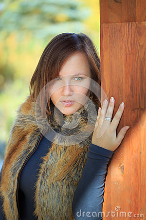Free Beautiful Woman In Faux Fox Fur Waistcoat Royalty Free Stock Images - 35776879