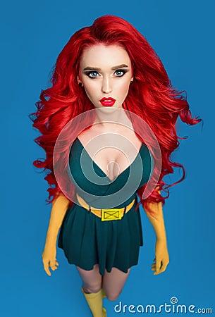 Free Beautiful Woman In Green Superhero Costume Stock Photos - 105405573