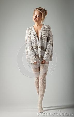 Free Beautiful Woman In Knitted Jumper Royalty Free Stock Image - 27528756
