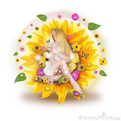 Free Beautiful Woman In Nature Flowers Stock Images - 18826304