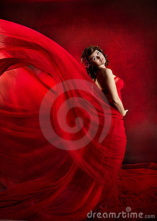 Free Beautiful Woman In Red Flying Waving Dress. Royalty Free Stock Photos - 19124038