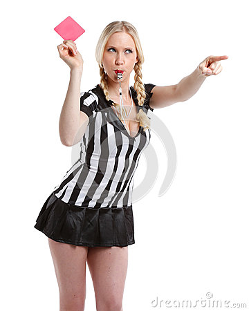 Free Beautiful Woman In Soccer Referee Clothes Royalty Free Stock Image - 40600746