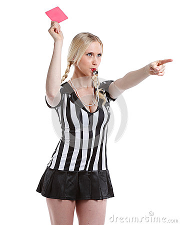 Free Beautiful Woman In Soccer Referee Clothes Royalty Free Stock Photos - 40600868