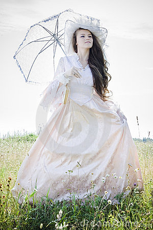 Free Beautiful Woman In Vintage Dress Stock Images - 15431144