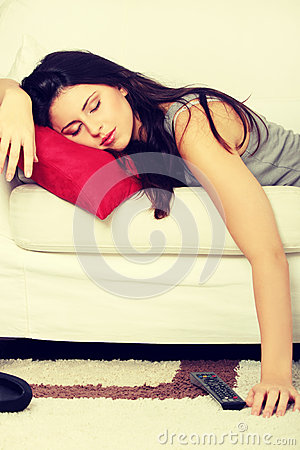 Free Beautiful Woman Is Sleeping On Red Pillow. Stock Photography - 37682182
