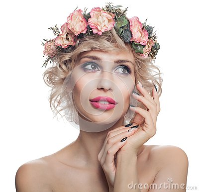 Free Beautiful Woman Isolated On White. Portrait Of Pretty Model With Makeup, Blonde Hair And Flowers Royalty Free Stock Images - 144912129