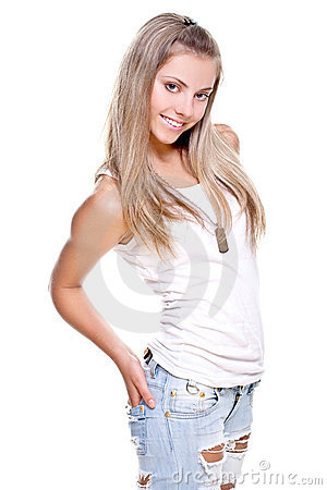 Beautiful woman in a jeans with dog tag