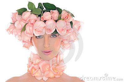 Beautiful woman with jewelry of pink roses