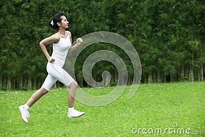 Beautiful woman jogging outdoor