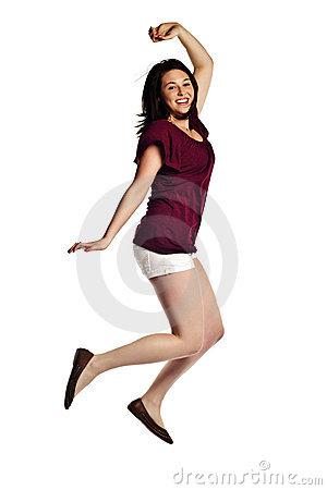 Beautiful woman jumping with joy isolated