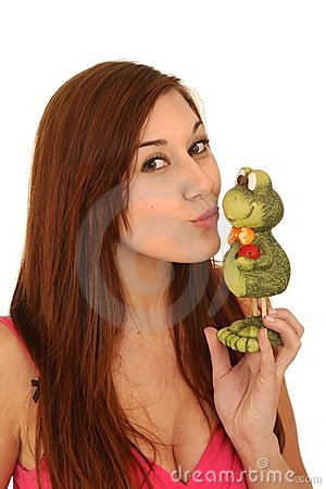 Beautiful Woman Kissing Frog