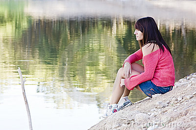 Beautiful woman in the lake