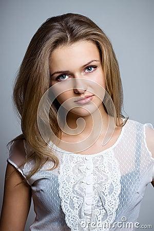 Beautiful woman in lase shirt