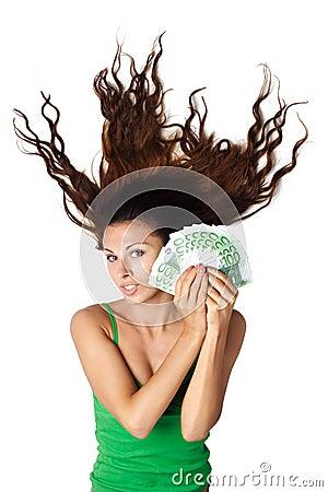 Free Beautiful Woman Ld Hold Moey Euro Hair Dishevelle Stock Image - 15981281