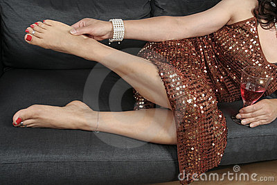 Beautiful woman  legs relaxing with   dress