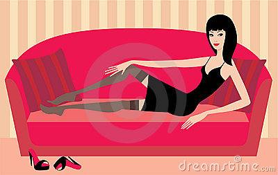 Beautiful woman lies on a sofa. vector