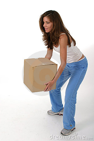 Free Beautiful Woman Lifting Box 2 Royalty Free Stock Photos - 922738