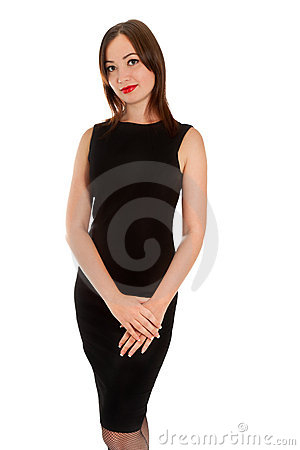 Beautiful woman in little black dress isolated