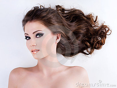 Beautiful woman with  long brown hairs
