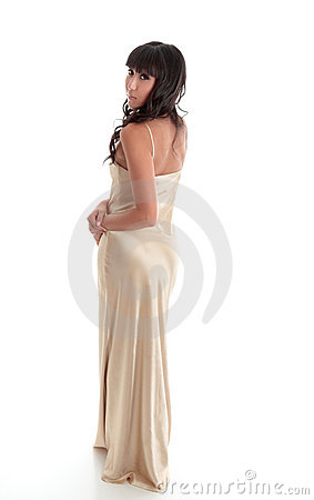 Beautiful woman in long evening dress