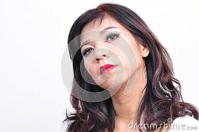 Beautiful woman long hair and makeup
