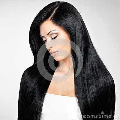 Beautiful  woman with long straight hairs