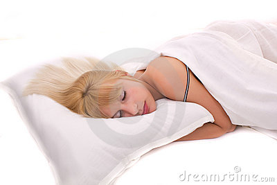 Beautiful woman lying and sleep