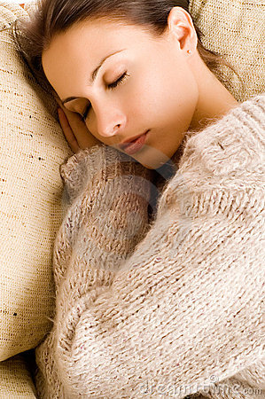 Beautiful woman lying and sleep