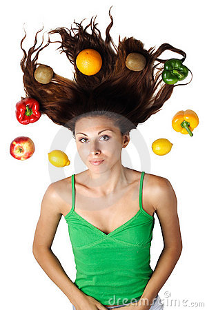 Free Beautiful Woman Lying With Fruits And Hair Stock Photography - 15981302