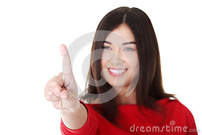 Beautiful woman making choose on abstract screen