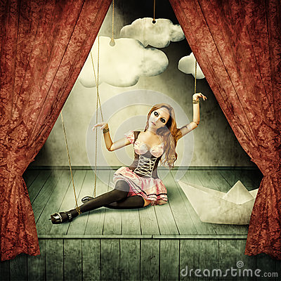 Free Beautiful Woman Marionette Royalty Free Stock Images - 54952899