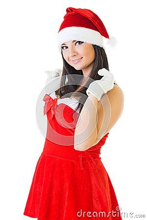 Beautiful woman in masquerade santa costume.